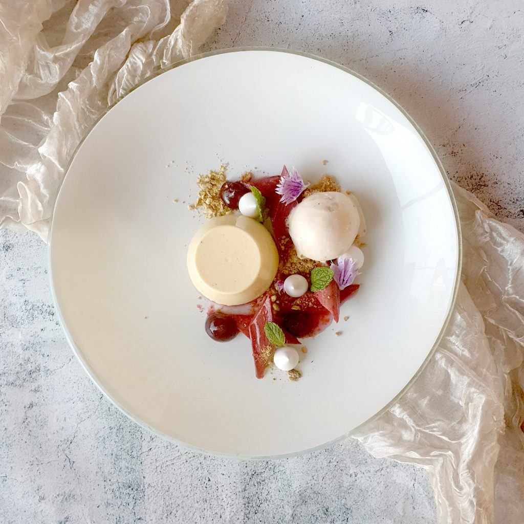 Vanilla Panna Cotta with Roached RhubarbScampi Tail Veloute at Beast & Butterflies Auckland Dinner Special Deal
